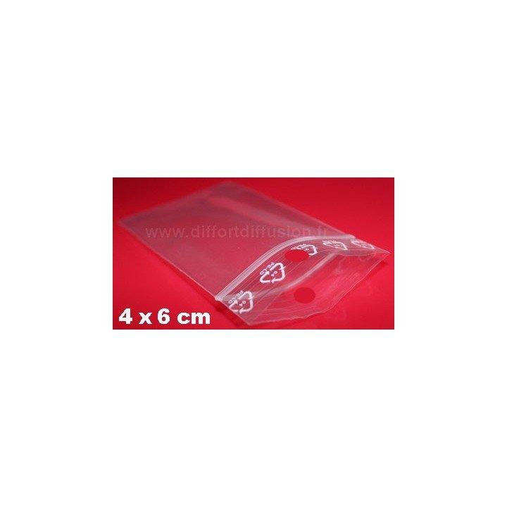 1000 sachets plastiques Zip 40x60 mm avec trou de suspension