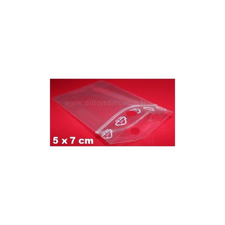 1000 sachets plastiques Zip 50x70 mm avec trou de suspension