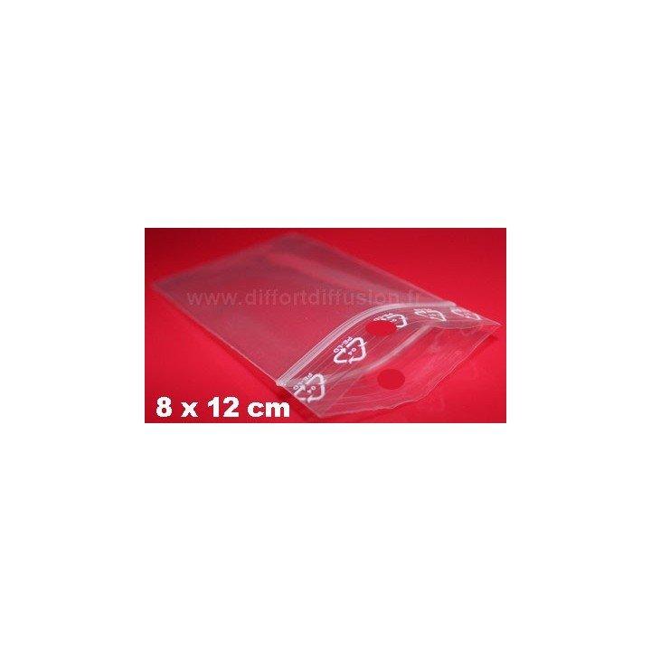 1000 sachets plastiques Zip 80x120 mm avec trou de suspension