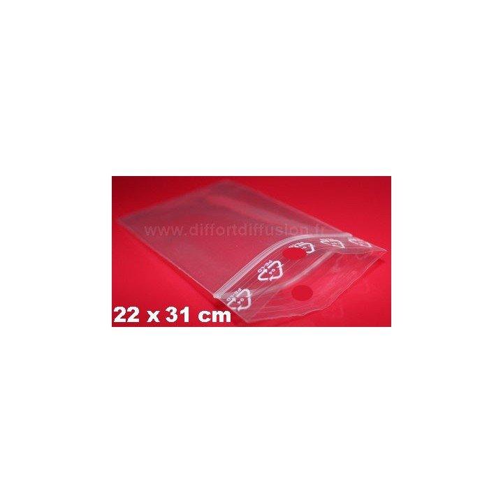 500 sachets plastiques Zip 220x310 mm avec trou de suspension